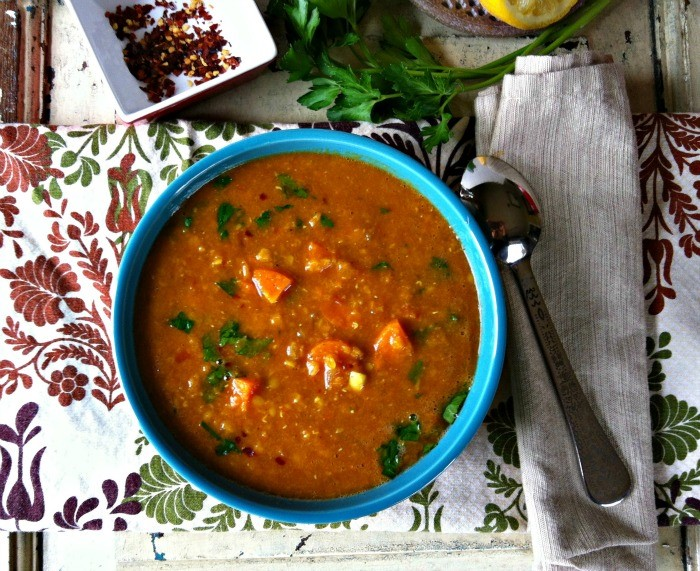 Turmeric & ginger red lentil soup