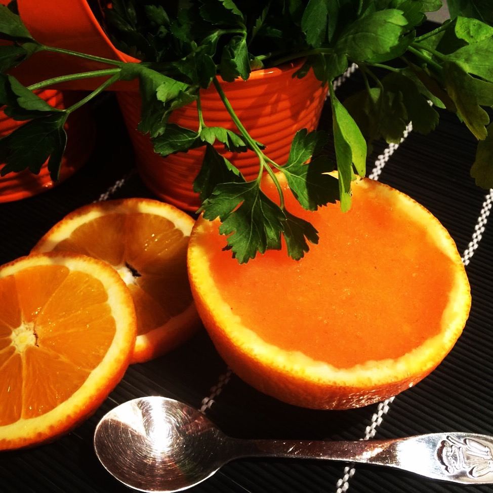 Orange jelly with persimmon