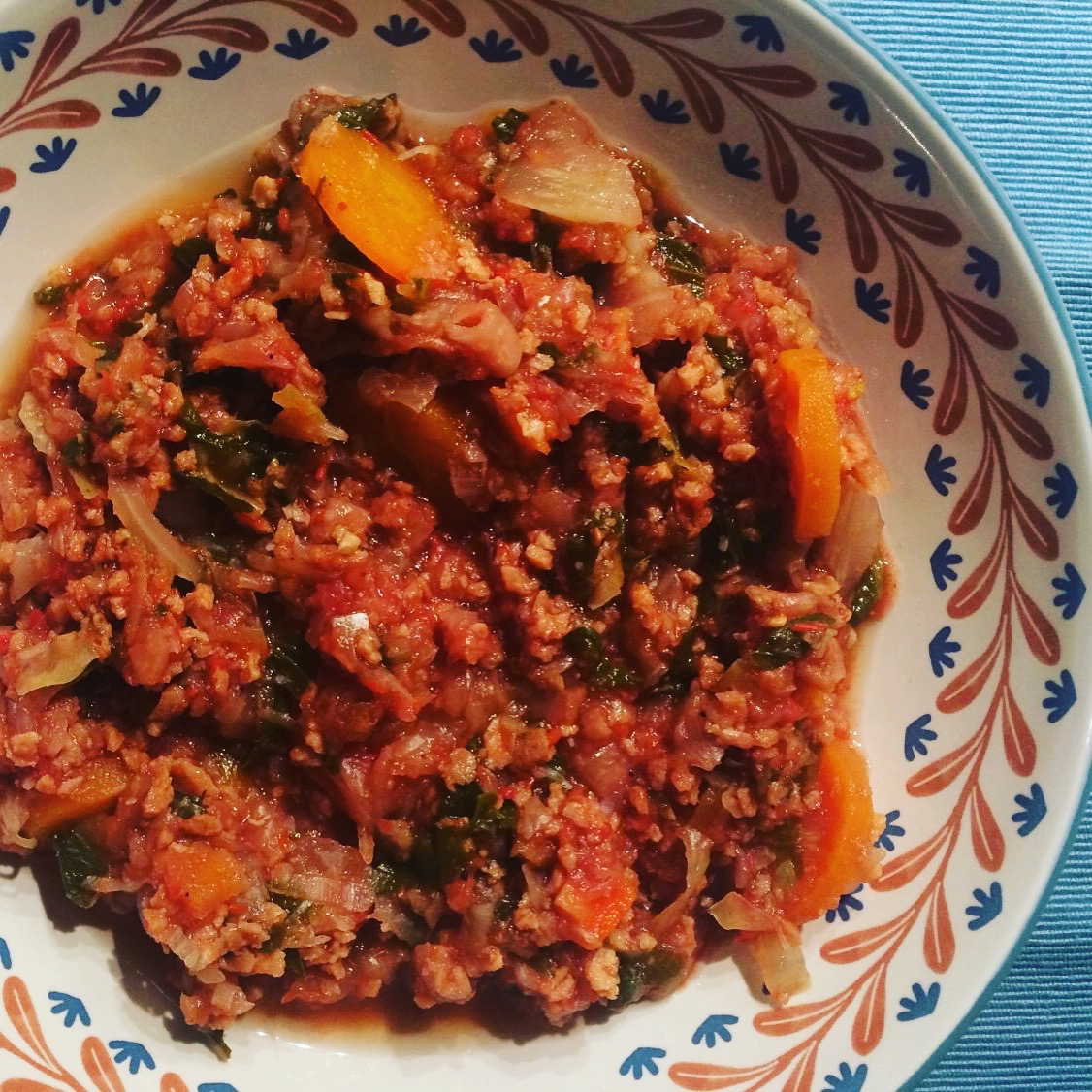 Cabbage in red sauce with minced soy