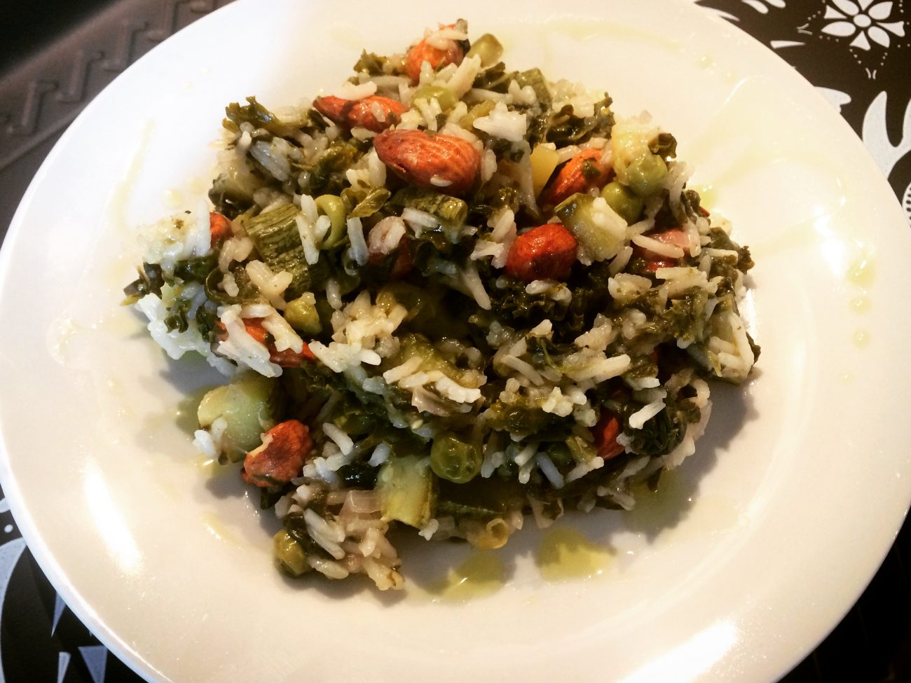 Basmati rice with greens and almonds